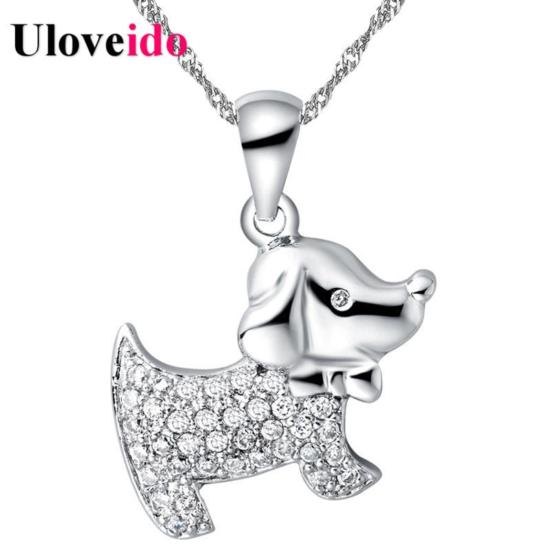 Necklace Female Gift Rhinestones Chain Necklaces Cute Dog Pendants for Friends Cubic Zirconia Accessories 15% Uloveido N591