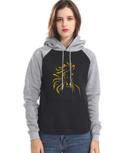 Load image into Gallery viewer, Woman's Fleece Horse Print Two Tone Hoodie with Raglin Sleeve
