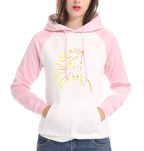Woman's Fleece Horse Print Two Tone Hoodie with Raglin Sleeve