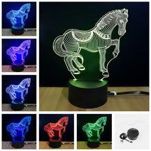 Load image into Gallery viewer, LED 3D Horse Lamp