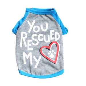 "Small Doggie Tee  ""You Rescued My Heart"""