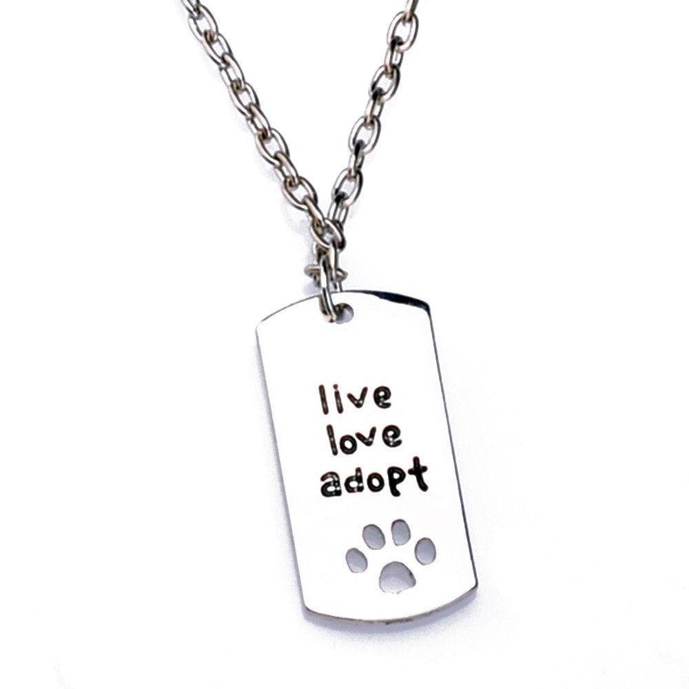 Dog Tag Style Pendant Charm Necklace