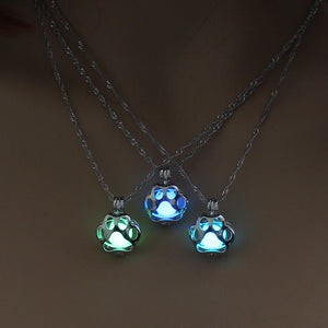 Pendant Style Necklace Hollow Paw Luminous Bead