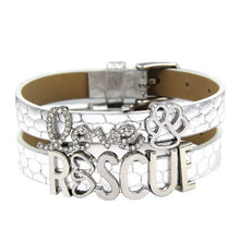 Load image into Gallery viewer, Love/Rescue Leather Silver and Rhinestone Friendship Bracelets