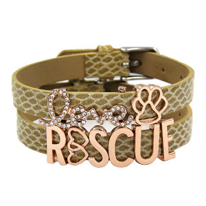 Love/Rescue Leather Silver and Rhinestone Friendship Bracelets