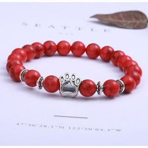 Natural Stone Bead and Charm Bracelet