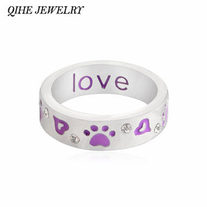 "QIHE JEWELRY Purple Paw & Crystal ""Unconditional love"" Ring Cuff Band Ring Foot prints Jewelry Dog Cat Lover Gifts Christmas Day"