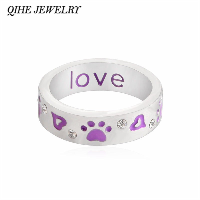 QIHE JEWELRY Purple Paw & Crystal
