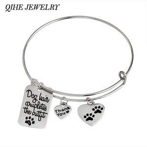 "QIHE JEWELRY ""Dog hair completes the outfit"" Paw Foot Prints Dog Tag Heart Shape Charm Bangle Bracelet Paw Lover Jewlry"