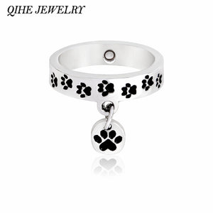 QIHE JEWELRY Dog cat foot print ring Pet memorial  ring Stacking wrap rings Puppy kitty paw jewelry Dog cat lover gifts