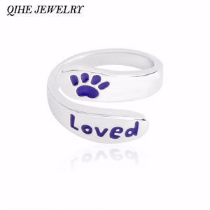 "QIHE JEWELRY Purple paw foot print ""Loved"" wrap twist ring Pet memorial jewelry Dog or cat foot print jewelry Gift for dog lover"
