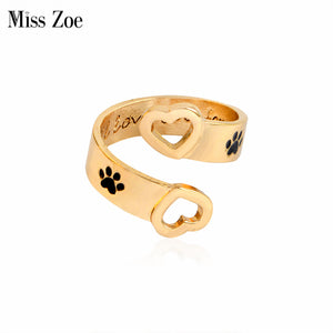 I will love you forever Animal Pet Ring Dog paw Hollow Love Heart Jewelry Opening Ring For Dog parent Free Shipping