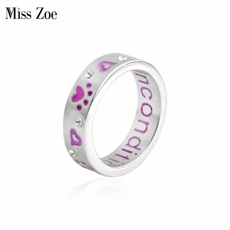 Miss Zoe Purple Paw Crystal Unconditional Love Ring Animal Pet Ring Dog paw Jewelry Ring For Dog parent Wholesale free shipping