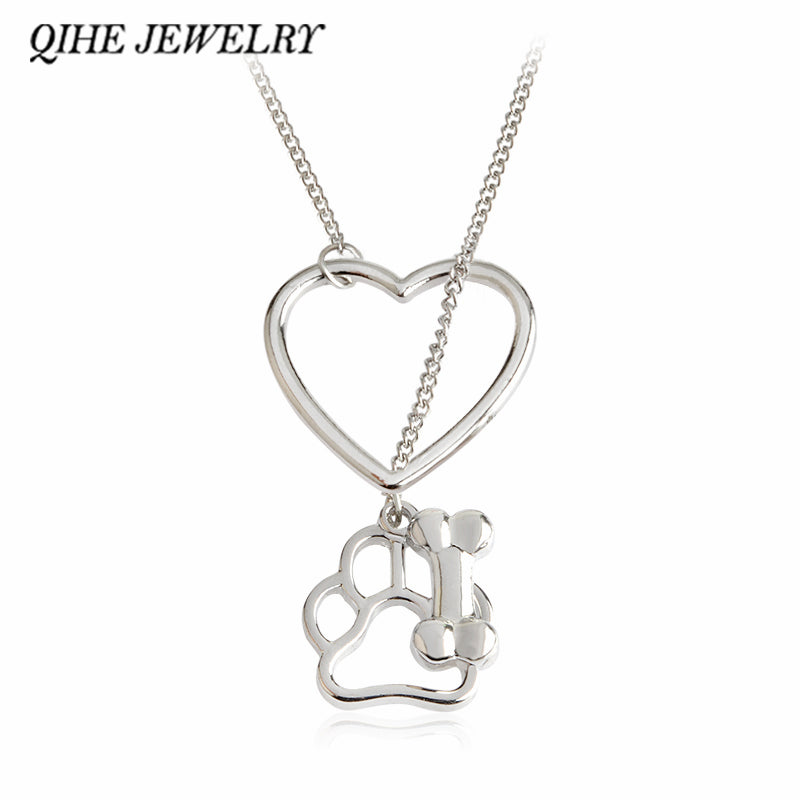 QIHE JEWELRY Paw Foot Print Dog Bone Dainty Heart Link Necklace Personalized Pet Charm Jewelry Gift For Pet Lovers