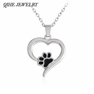 QIHE JEWELRY Silver Color Heart Paw Necklace Pet Memorial Necklace Cat Dog Lovers Jewelry Pet Jewelry Wholesale