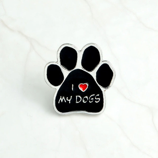 QIHE JEWELRY Black dog paw pins Enamel paw brooches