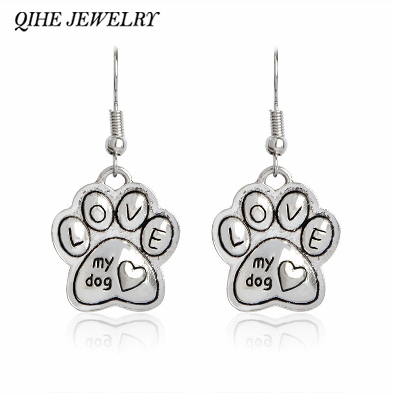 QIHE JEWELRY Love My Dog Earring Paw Dog Cat Foot Print Charm Pet Jewelry Dog Lover Gifts For Women Girl Jewelry
