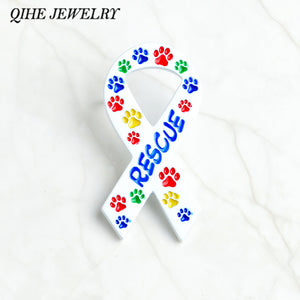 QIHE JEWELRY Ribbon brooches Colorful dog cat pet print RESCUE brooches Pet memorial jewelry Gift for dog lover cat lover