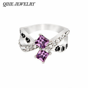 QIHE JEWELRY Paw dog cat print ring with blue purple rhinestone Paw foot print jewelry lovely dog cat lover jewelry gifts