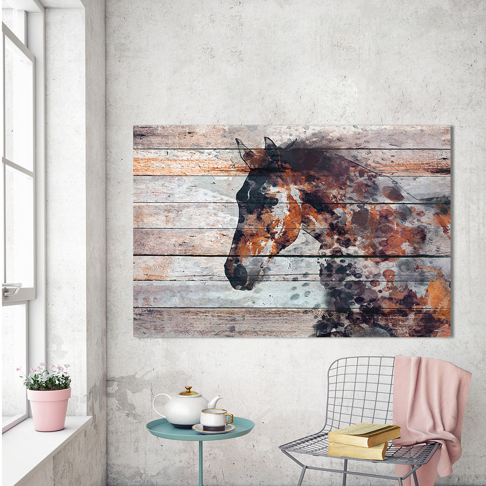 Unique Abstract Horse Painting on Barn Wood