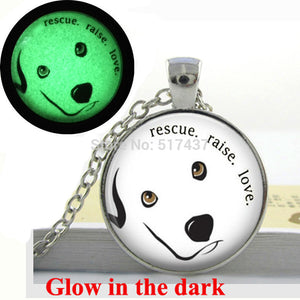 Glow in the dark Dog Necklace Rescue Raise Love Quote Necklace glass art photo necklace Glowing Jewelry