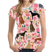 Load image into Gallery viewer, Woman's Tee  Greyhound Print