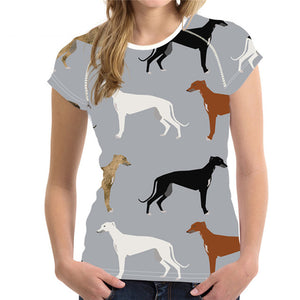 Woman's Tee  Greyhound Print