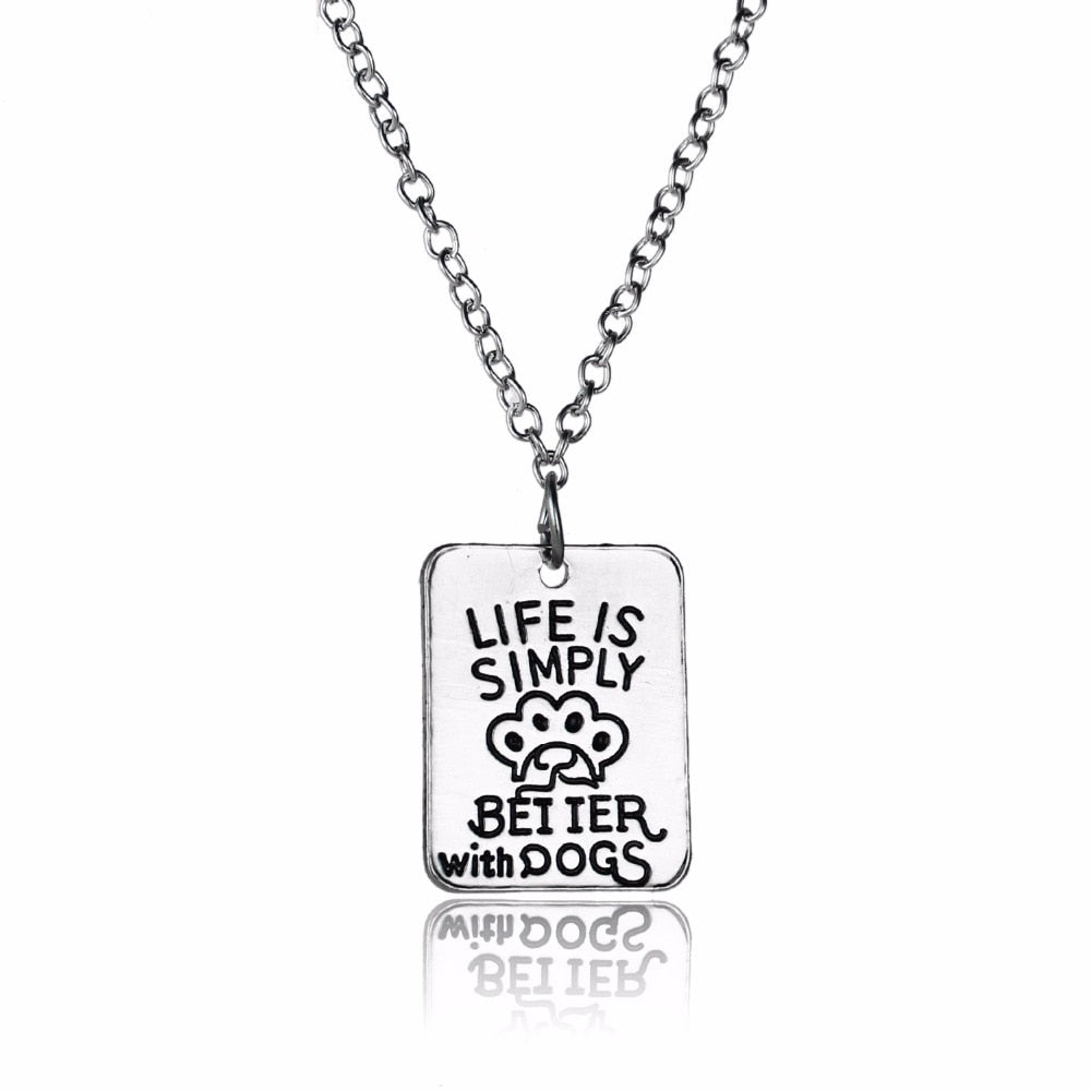 Geometric Life Is Simply Better With Dog Pet Print Paws Pendant Necklace Women Animals Rescue Charm Jewelry Birthday Xmas Gifts