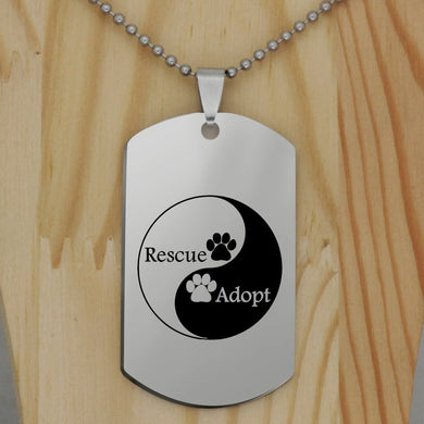 Yin and Yang Dog Tag Style Pendant Necklace and Matching Keychain