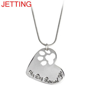 JETTING Fashion Woman Jewelry Lovely Cute My Dog Rescued Me Paw Print Tag Heart Necklaces Pet Memorial Doggy Gift
