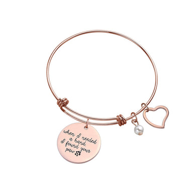Bangle Heart and Pearl Charm Bracelet