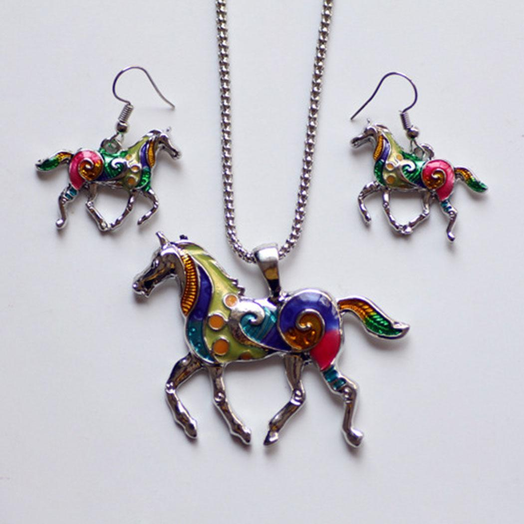 Colorful Horse Necklace Pendant and Earrings