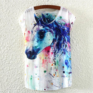 Woman's Tank with Graphic Horse Print
