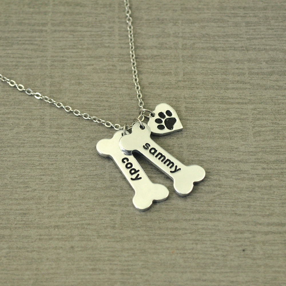 Personalized Heart and Bone Pendant Charm Necklace
