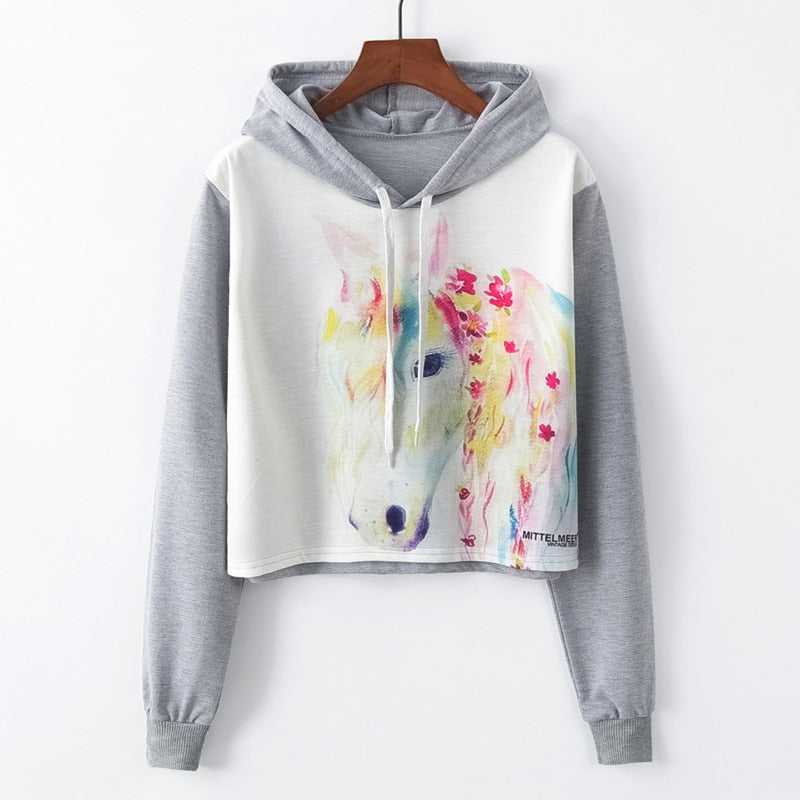 Girls Fashion Horse Print Hoodie
