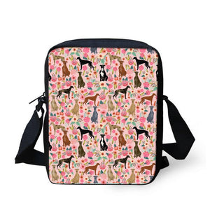 FORUDESIGNS School Crossbody Bags For Girls Greyhounds Rescue Dog Pattern Messenger Bag For Women Flap Female Small Shoulder Bag