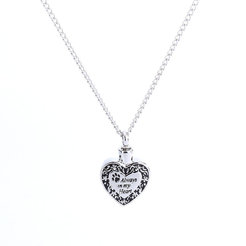 """Always in my Heart""Dog Footprint Ashes Memorial Necklace"
