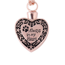 "Load image into Gallery viewer, ""Always in my Heart""Dog Footprint Ashes Memorial Necklace"