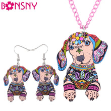 Load image into Gallery viewer, Dachshund Necklace and Earring Set