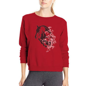 Fashionable Sweatshirt with Beautiful Cherry Blossoms and Jumping Horse