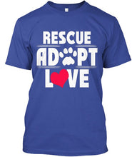 "Load image into Gallery viewer, Men's T-Shirt  ""Rescue Adopt Love"""