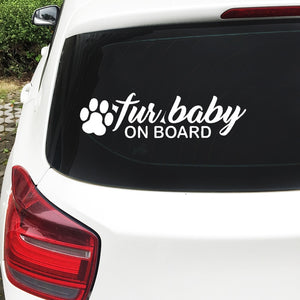 """Fur Baby On Board"" Reflective Vinyl Die Cut Decal/Sticker"