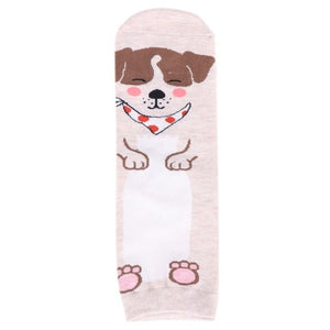 Women's Crew Socks with Five Different Doggie Motif