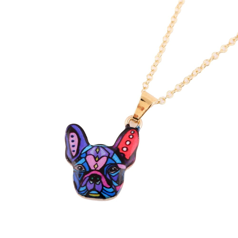 Cute Gold Puppy Dog Head Charm Pendant Necklace
