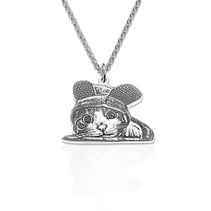 Custom Sterling Silver Pet Silhouette Necklace