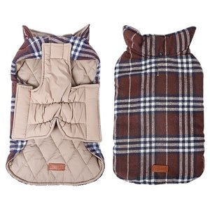 Cozy Windproof Reversible Style Plaid Dog Jacket