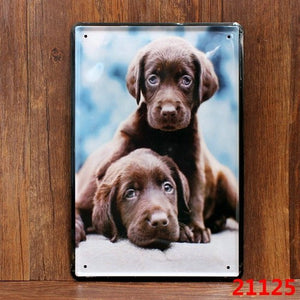 Vintage Tin Plaque with Adorable Puppies