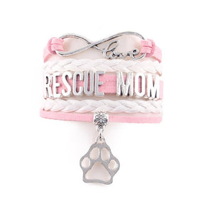 Infinite Love RESCUE MOM Leather and Silver Charm Bracelet