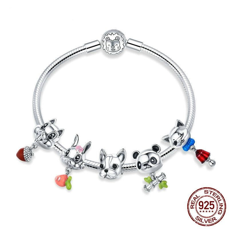 Adorable Sterling Silver Animal Charm Bracelet