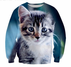 Lovely Kitty Print Sweatshirt